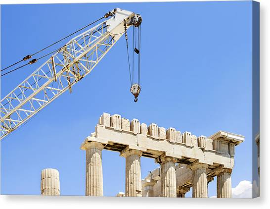 The Acropolis Canvas Print - A Crane At The Unesco World Heritage by Corepics