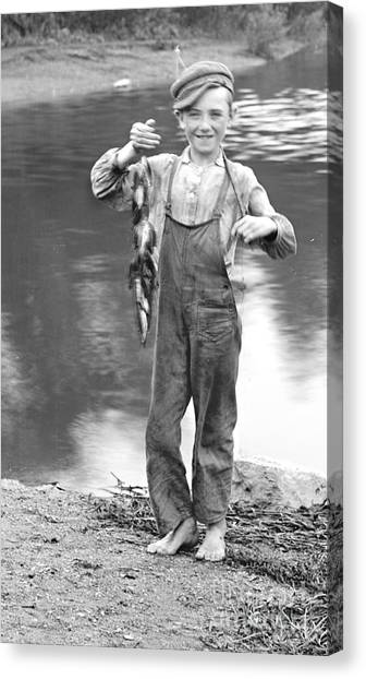 Fishing Canvas Print - A Days Catch 1900 by Padre Art