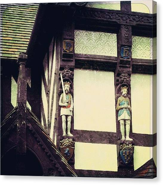 Knights Canvas Print - A Detail Of A Building In Chester by Alexandra Cook
