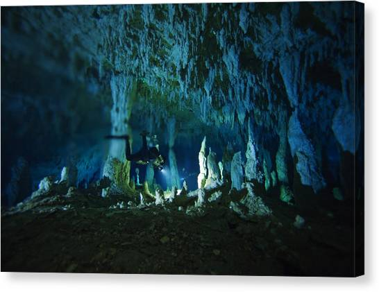 Underwater Caves Canvas Print - A Diver Negotiates The Cascade Rooms by Wes C. Skiles