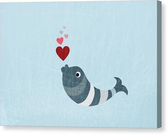 A Fish Blowing Love Heart Bubbles Canvas Print