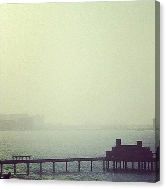 Ocean Sunrises Canvas Print - A Foggy Dawn By The Pier by George Saad