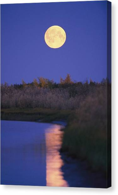 Northwest Territories Canvas Print - A Full Moon Is Reflected by Raymond Gehman