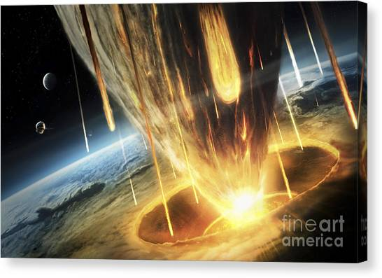 Planetoid Canvas Print - A Giant Asteroid Collides by Tobias Roetsch