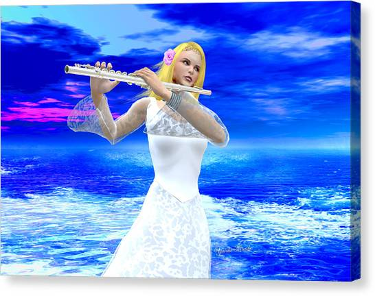 A Girl Playing Flute Canvas Print