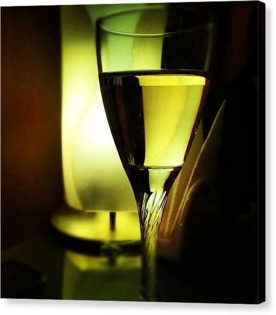 White Wine Canvas Print - A Glass Of Wine by Jane Bulatnikova