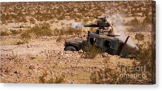 Warheads Canvas Print - A Gunner Firing A Bgm-71 Tow Missile by Stocktrek Images