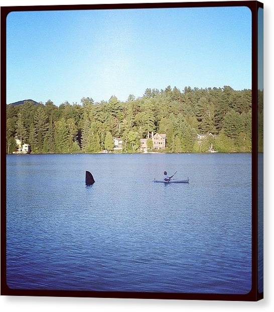 Kayaks Canvas Print - A Guy Pulling A Fake Shark As We Were by Natalia Christiano