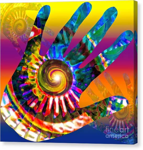 Dye Canvas Print - A Helping Hand by Gwyn Newcombe