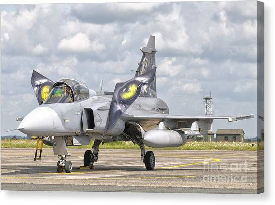 Nato Canvas Print - A Jas-39 Gripen Of The Czech Air Force by Giovanni Colla