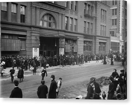 Salvation Army Canvas Print - A Large Crowd Of Men And Women Wait by Everett