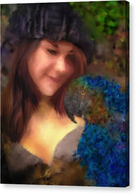 A Lass With Her Parrot Canvas Print by Jill Balsam