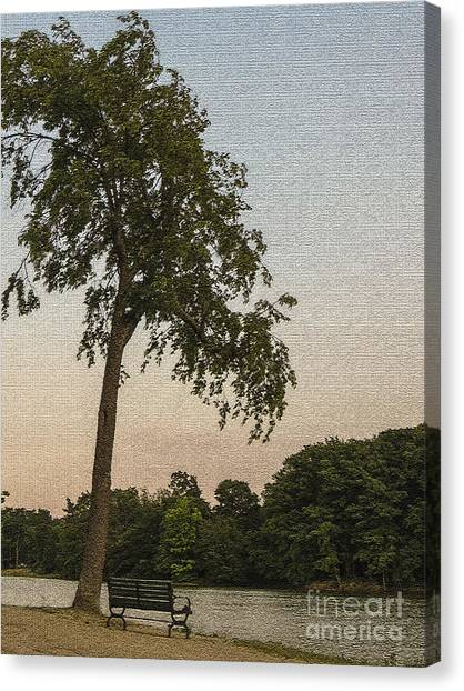 A Lonely Park Bench Canvas Print