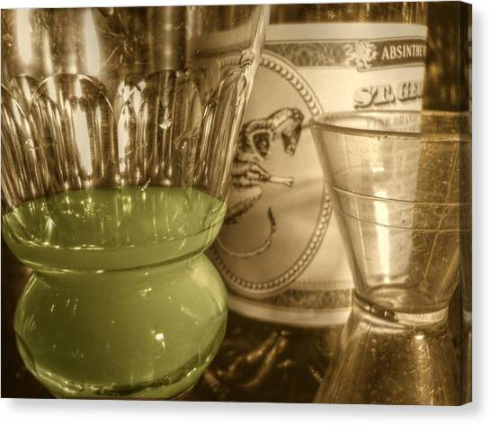 A Macro Sepia And Green Of Absinthe Canvas Print by Jennifer Holcombe