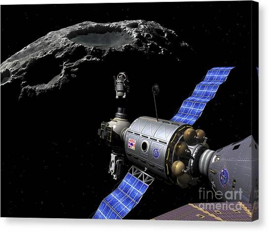 Planetoid Canvas Print - A Manned Maneuvering Vehicle Undocks by Walter Myers