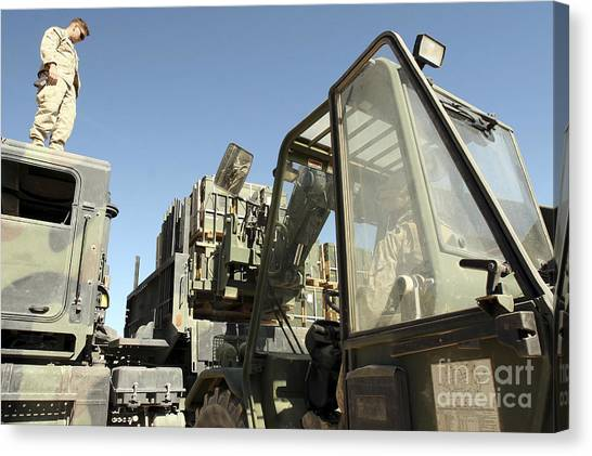 Forklifts Canvas Print - A Marine Manning A Front-loading by Stocktrek Images