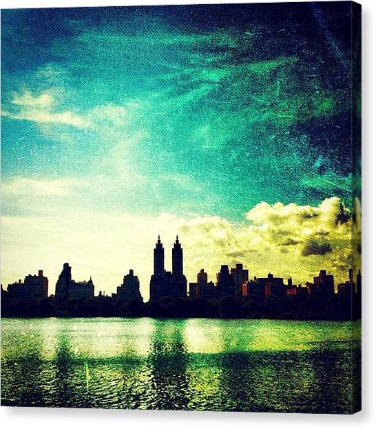 Skylines Canvas Print - A Paintbrush Sky Over Nyc by Luke Kingma