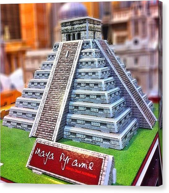 Papers Canvas Print - A #paper #replica Of A #mayan #pyramid by Victor Wong