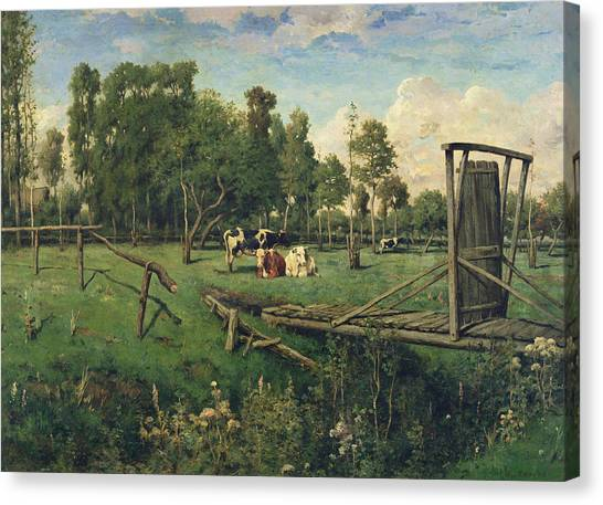 Ditch Canvas Print - A Pasture In Normandy by Constant-Emile Troyon
