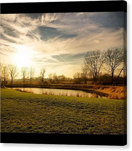 Wisconsin Canvas Print - A #peaceful Spot.  #pond #water #sky by Aran Ackley