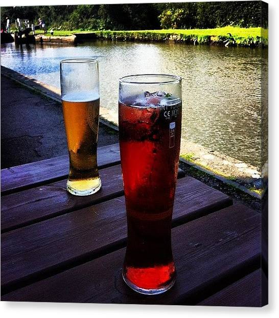 Lager Canvas Print - A Pint Of Lager & A Pint Of Red Berry & by Jude L
