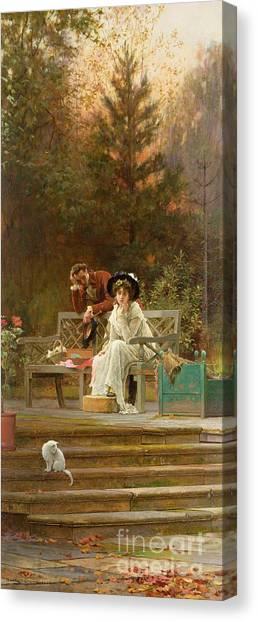 Victorian Garden Canvas Print - A Prior Attachment by Marcus Stone