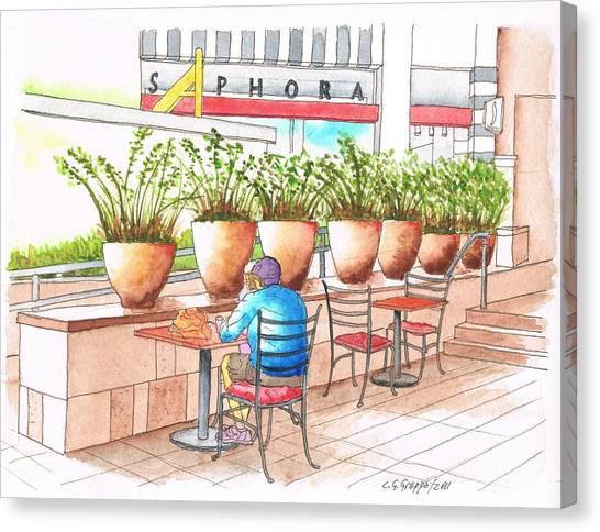 A Quiet Moment In The Manhatan Beach Mall, Califonia Canvas Print by Carlos G Groppa