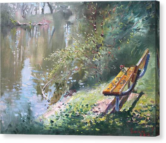 Ontario Canvas Print - A Rose On The Bench by Ylli Haruni