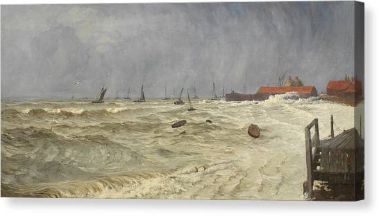 Sick Canvas Print - A Rough Day At Leigh by William Pye