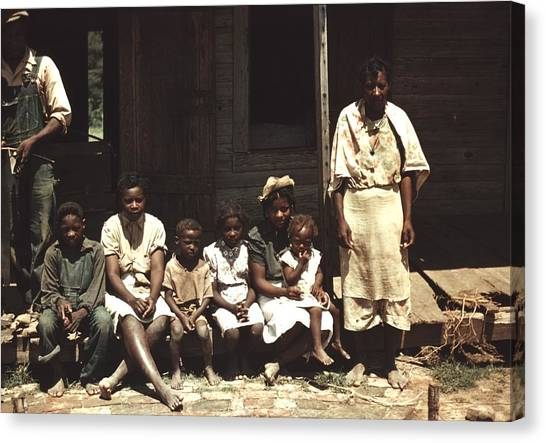 Natchitoches Canvas Print - A Rural African American Family Seated by Everett
