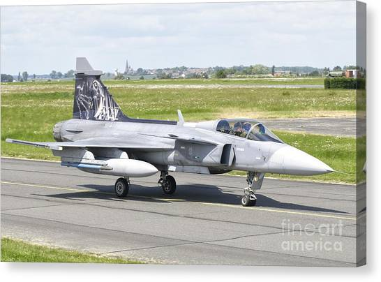 Nato Canvas Print - A Saab Jas-39 Gripen Of The Czech Air by Giovanni Colla