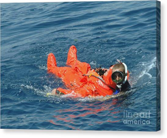 Sorbet Canvas Print - A Sailor Rescued By A Diver by Stocktrek Images