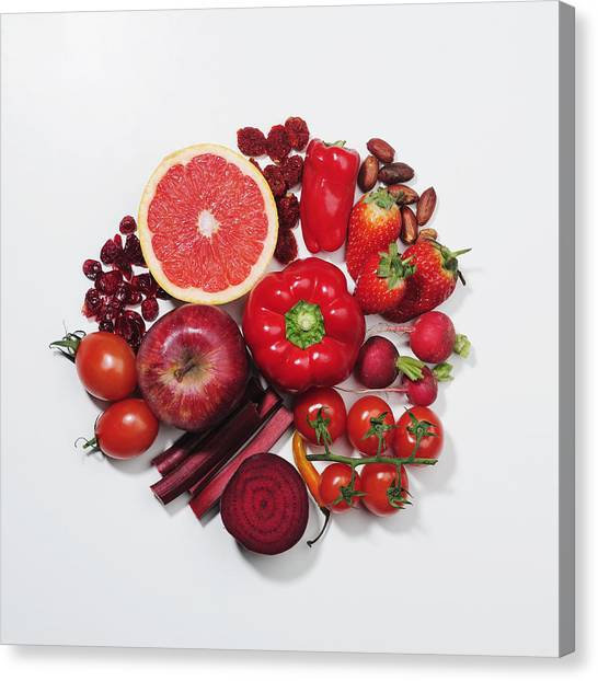 Dried Fruit Canvas Print - A Selection Of Red Fruits & Vegetables by David Malan