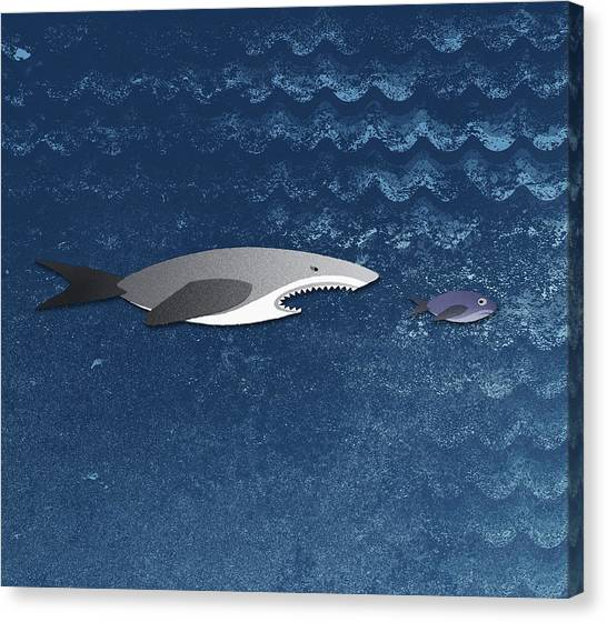 A Shark Chasing A Smaller Fish Canvas Print