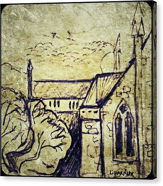 Gothic Art Canvas Print - A Sketch Of Some Buildings by Alexandra Cook