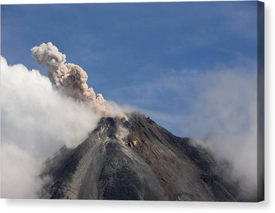 Arenal Volcano Canvas Print - A Small Eruption From The Arenal by Hannele Lahti