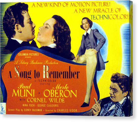 1945 Movies Canvas Print - A Song To Remember, Cornel Wilde, Merle by Everett