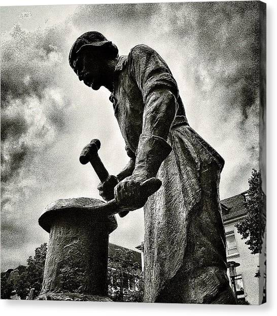 Hammers Canvas Print - A Statue In The City. Stop! Hammertime! by Sascha  Buchholz
