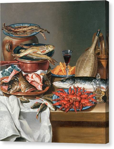 Fillet Canvas Print - A Still Life Of A Fish Trout And Baby Lobsters by Anton Friedrich Harms