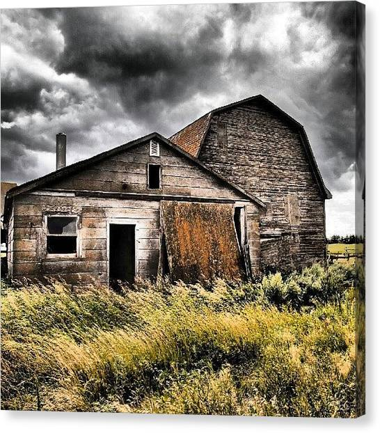 Saskatchewan Canvas Print - A #storm Is Coming. #abandoned #rural by Michael Squier