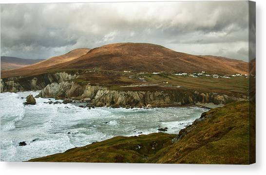 Canvas Print featuring the photograph A Stormy Day On Achill Island by Trever Miller
