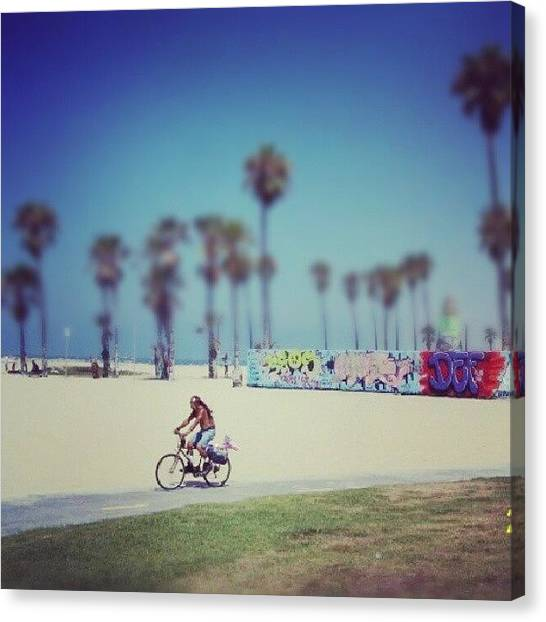 Venice Beach Canvas Print - A Stroll On The Venice Boardwalk by Lynda Larbi