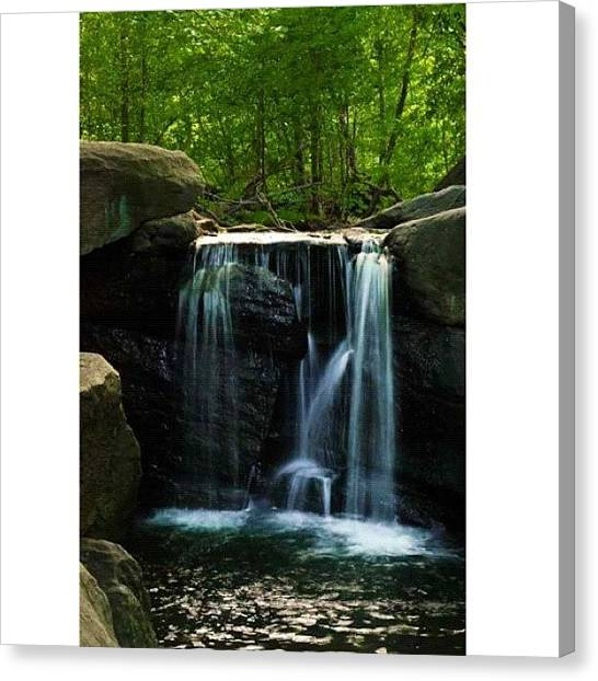 Meditation Canvas Print - a Strong Man, And A Waterfall Always by Kadeem Lewis-Riley