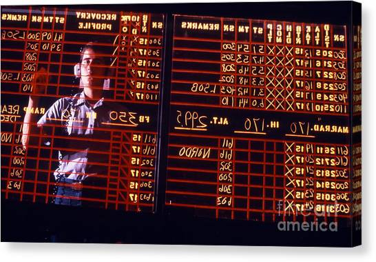 Air Traffic Control Canvas Print - A Student Learns To Write Backwards by Michael Wood