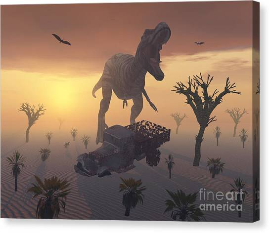Rusty Truck Canvas Print - A T. Rex And A Dilapidated 1930s Style by Mark Stevenson