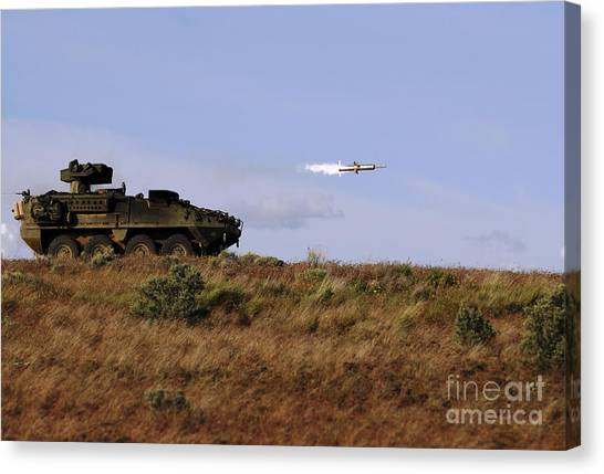 Warheads Canvas Print - A Tow Missile Is Launched From An by Stocktrek Images