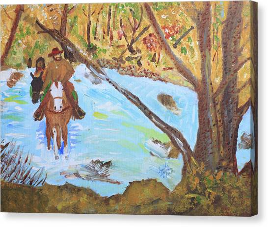 A Trapper And His Indian Lady Crossing A Stream Canvas Print
