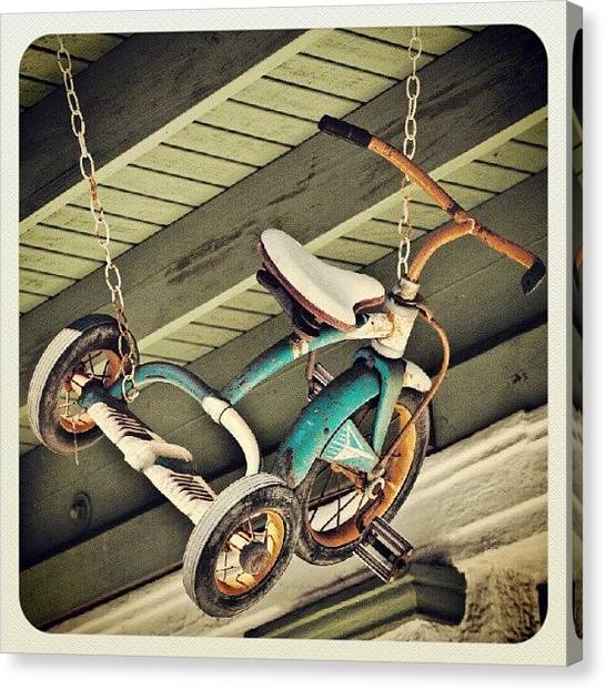 Kids Canvas Print - A Tricycle Hanging In Arcadia, Florida by Troy Thomas