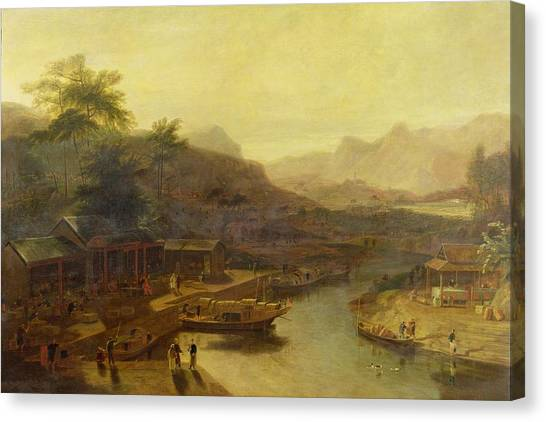Tea Leaves Canvas Print - A View In China - Cultivating The Tea Plant by William Daniell