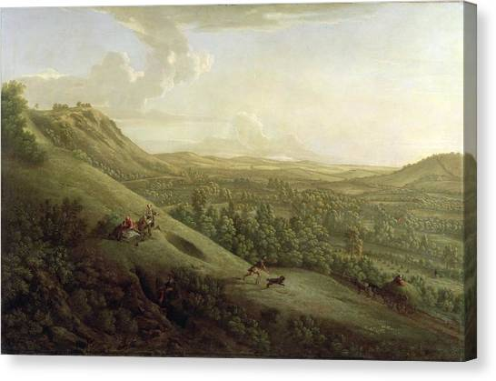Dog Running Canvas Print - A View Of Boxhill - Surrey by George Lambert